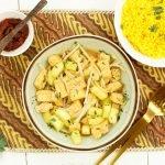 Ketoprak, vegetarische maaltijd met tofu