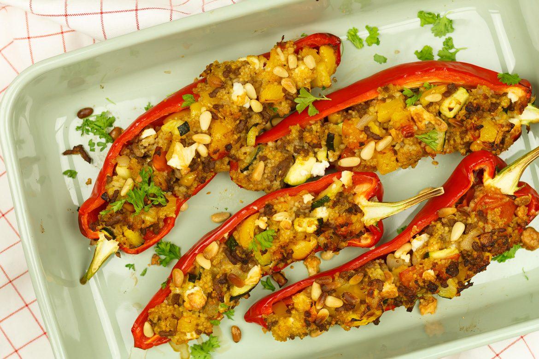 Gegrilde paprika met couscous en gehakt