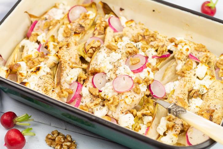 Witlof ovenschotel met kip en geitenkaas