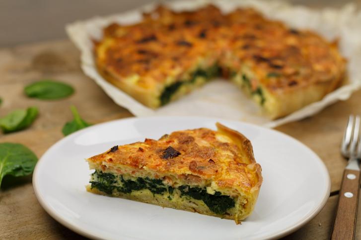Quiche met spinazie en zalm recept