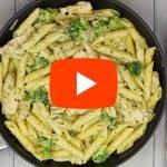Pasta met broccoli en kip in roomsaus