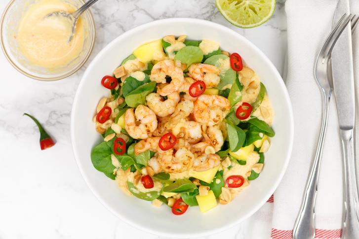 Garnalen(salade) met zoet-pittige mangodressing recept