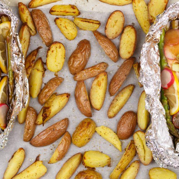 Zalmpakketje teriyaki met asperges en aardappeltjes