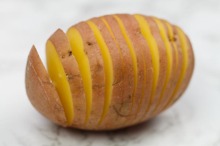 In ringen gesneden aardappel
