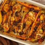 Ovenschotel kip met groenten en aardappeltjes