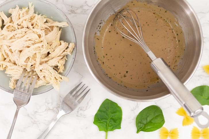 Pastasalade pulled chicken marinade