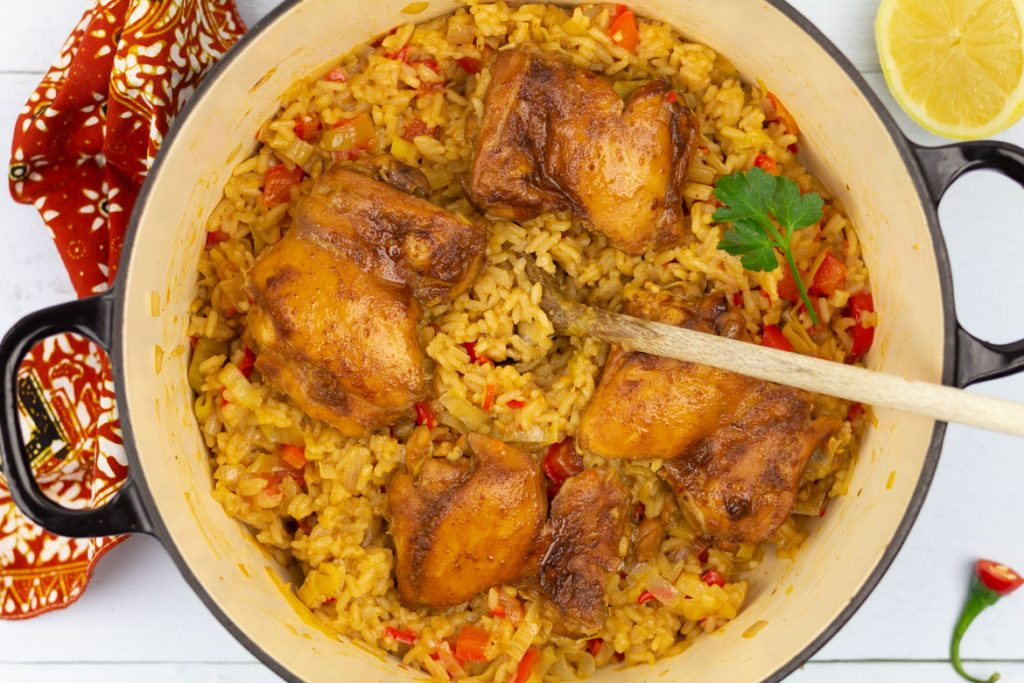 Indische kip met rijst en groenten