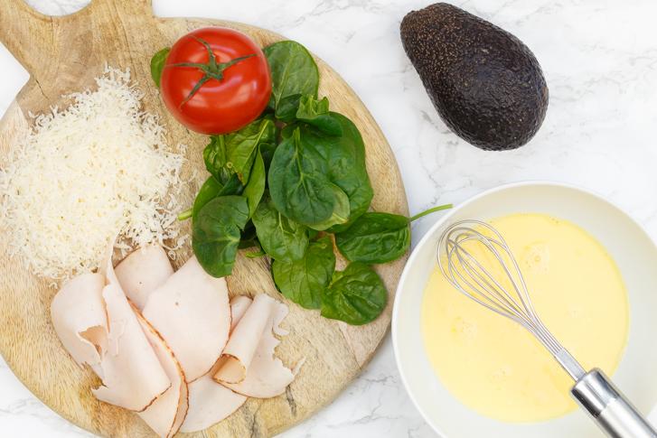 Ingrediënten omelet wrap
