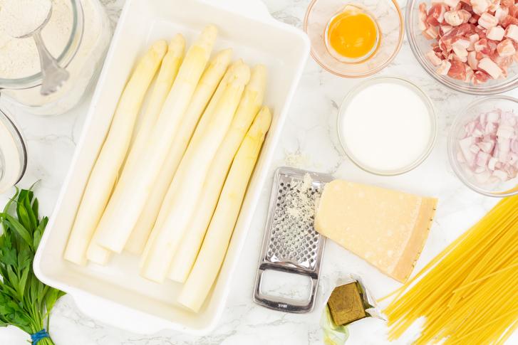 Pasta met witte asperges recept