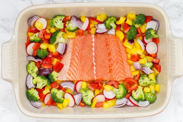 Ovenschotel zalm met groenten