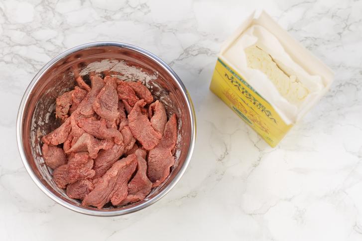 Biefstukpuntjes met maizena