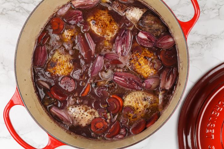 Coq au vin in rode wijn