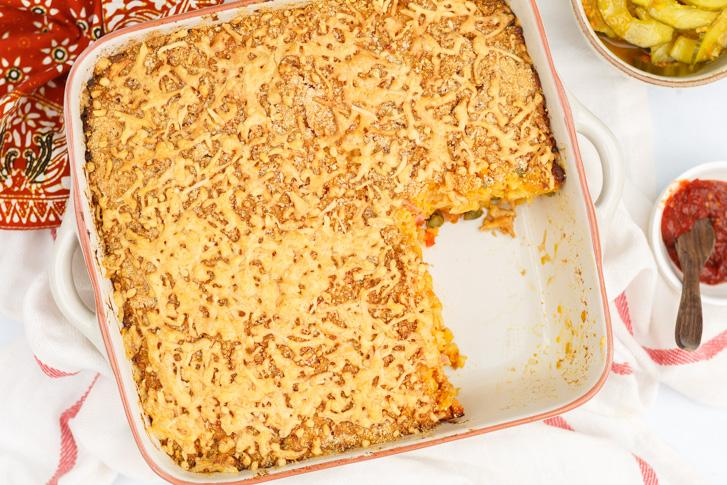 Indische macaroni schotel